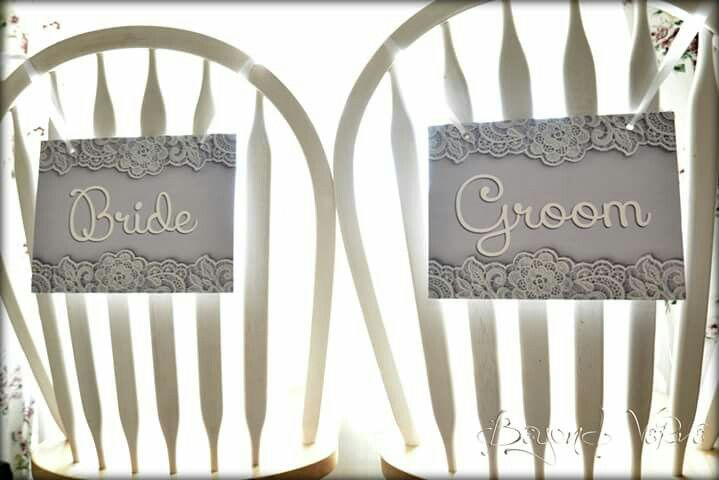 Romantic lace bride & groom signs - Wedding stationery