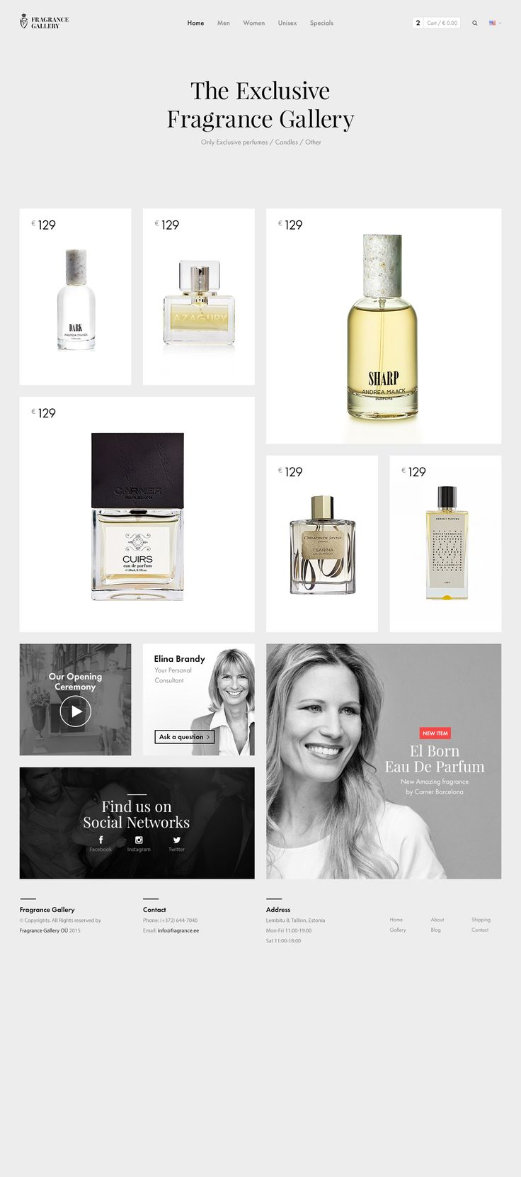 Fragrance Gallery Grid Based Website Design