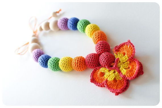 Crochet Bead and Wood Teething Necklace or Nursing Necklace - Soft, Snuggly and Chewable - Rainbowfly
