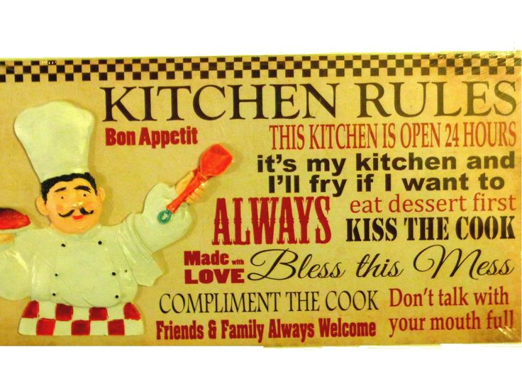 Add Humor To Your Chef Themed Kitchen With This Plaque Or Sign That Lists The  Kitchen Rules. Featured Is A Fat Italian Chef Holding A Plate Of Spaghe