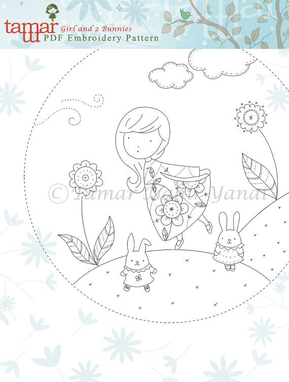 Embroidery Pattern, Instant Download - Girl and 2 Bunnies