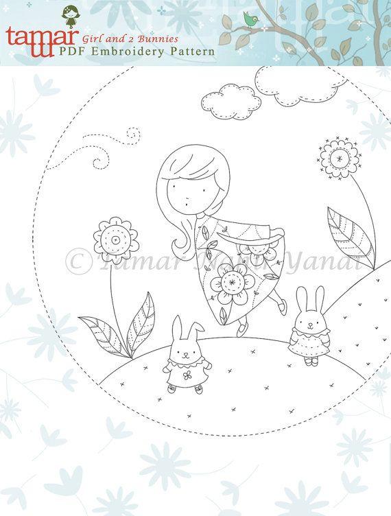 Embroidery pattern baby shower Girl and 2 par TamarNahirYanai