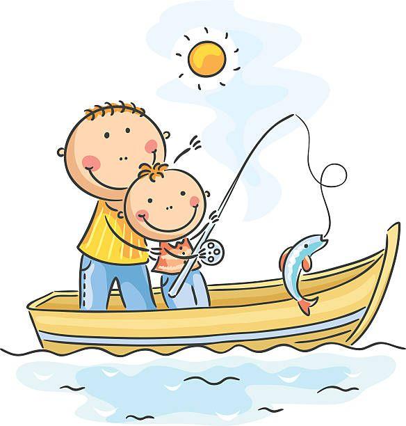 Father And Son Fishing No Gradients Peixe Desenho Desenho De