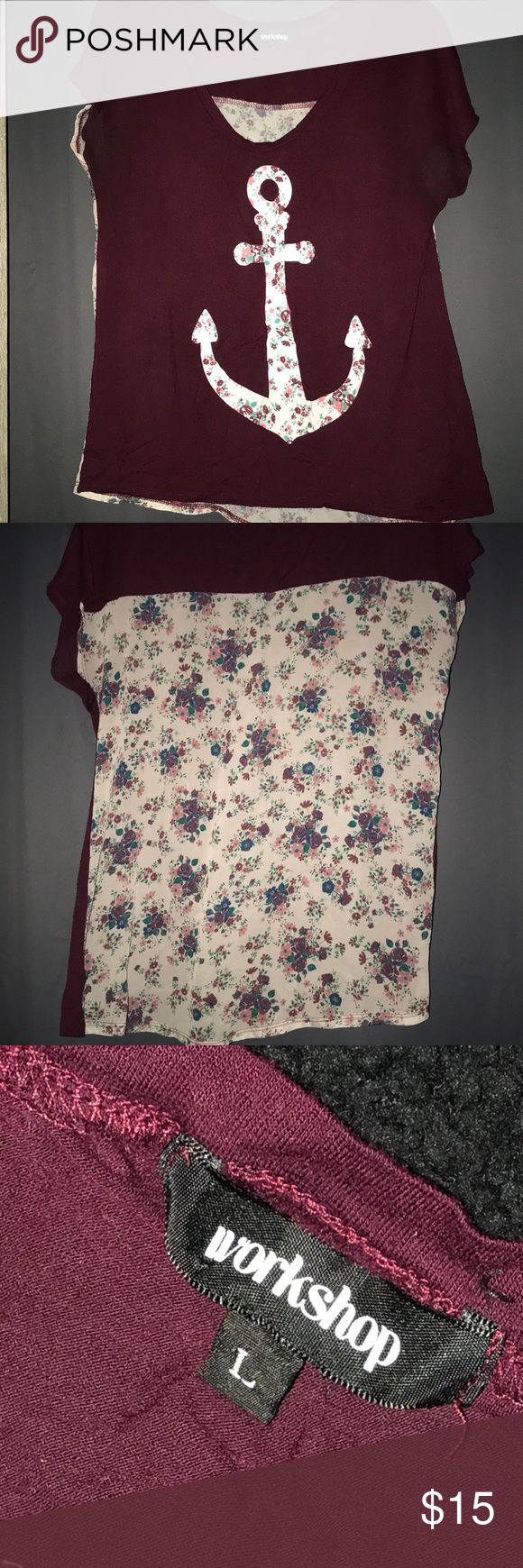 Zumiez Workshop floral anchor shirt 🌺⚓️ Super flowy fun shirt! Maroon color with a floral anchor and floral chiffon back. Zumiez Tops Tees - Short Sleeve