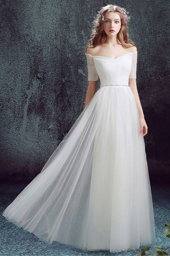 Simple Off The Shoulder Tulle Sleeve Wedding Dress Without Train No Lace Wedding Dresses Elegant Wedding Dress Wedding Dresses Simple