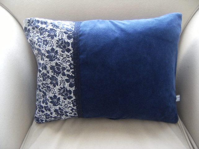 Blue Velvet Cushion - Folksy