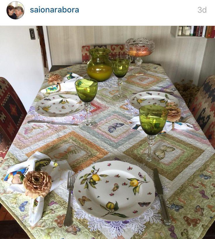 Decoração almoço patchwork mesa