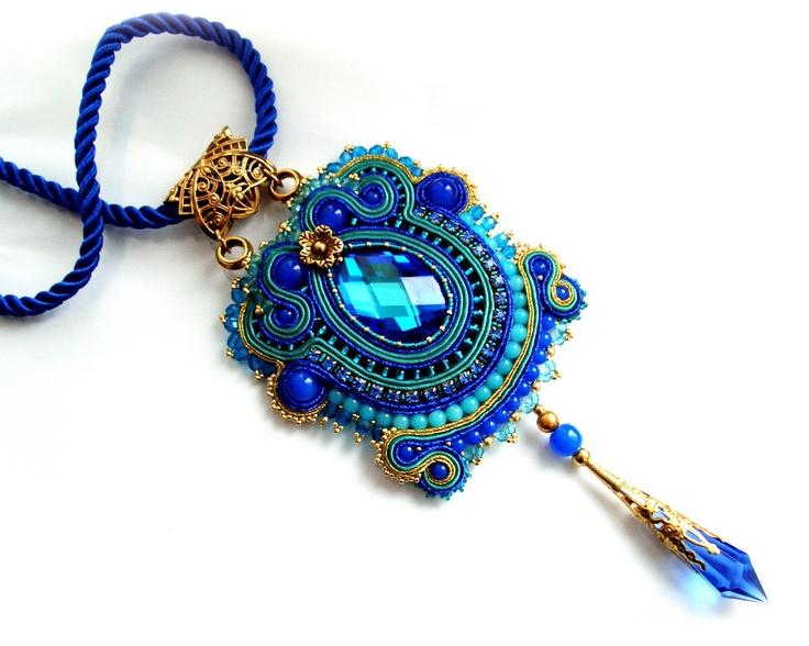 OOAK Soutache statement necklace pendant - elegant, sexy and unusual - CANNES OOAK. $150.00, via Etsy.