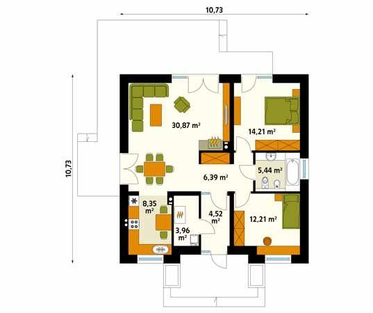 Projekt domu Elka 2 - rzut parteru