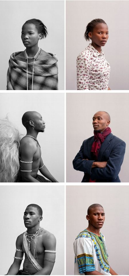 Andrew Putter's Native Work.  This new installation comprises 21 black-and-white photographs of contemporary black Capetonians, in 'tribal' or 'traditional' costume in the genre of the iconic ethnographic photographer Alfred Martin Duggan-Cronin. These are displayed in a grid alongside the same subjects photographed in colour, where the sitters chose what they wished to wear based on how they see themselves.