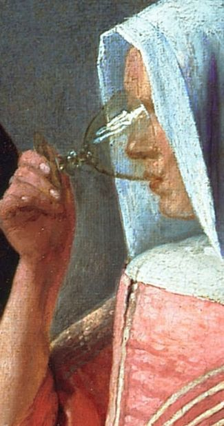 Johannes Vermeer, The Glass of Wine 1661, look how @ the glass, beautiful colours!