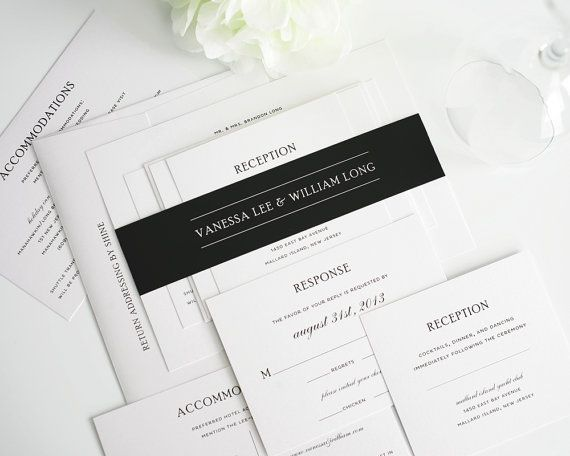 Simple Wedding Invitation Elegant Black And White Wedding Invitation Package