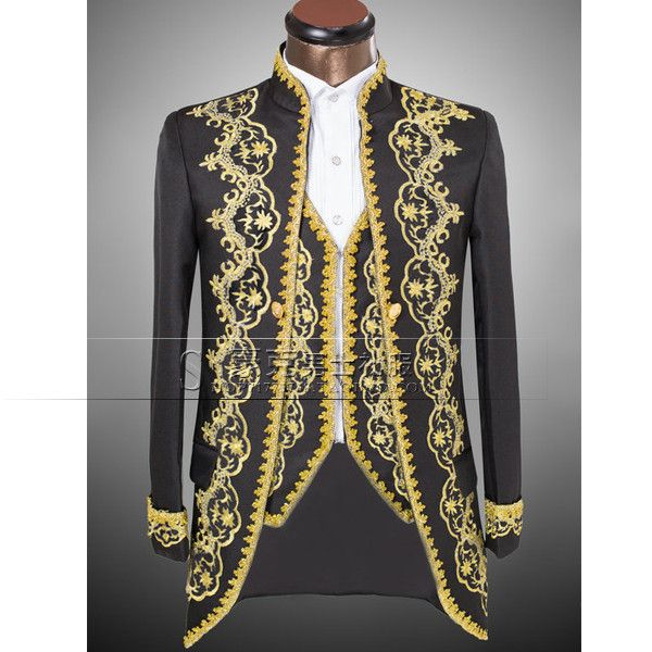 Vogue Palace Style Gold Embroidery Men Tuxedos Classic