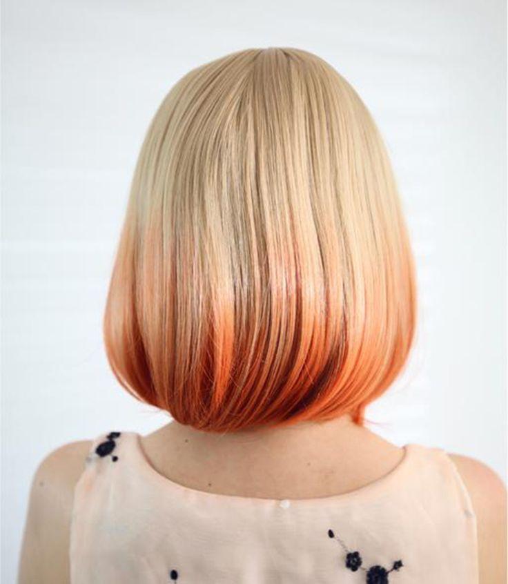 European Hairstyle kinky peluca natural Straight Short BoboWig Blonde Orange Ombre Hair Cosplay Costume Lolita Full Wig