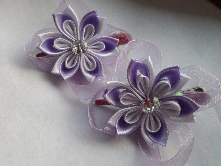 hand made Заколочки для маленькой принцессы Канзаши kanzashi