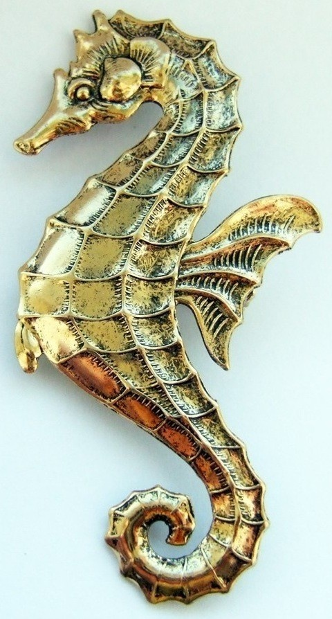 seahorse brooch large golden by tinyminds on Etsy