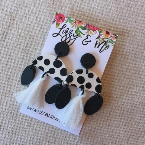 """""""MIMI"""" Tassel Earrings - Black & White"""