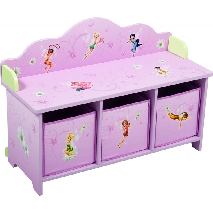 Disney Fairies 3 Bin Toy Box Organizer Bench