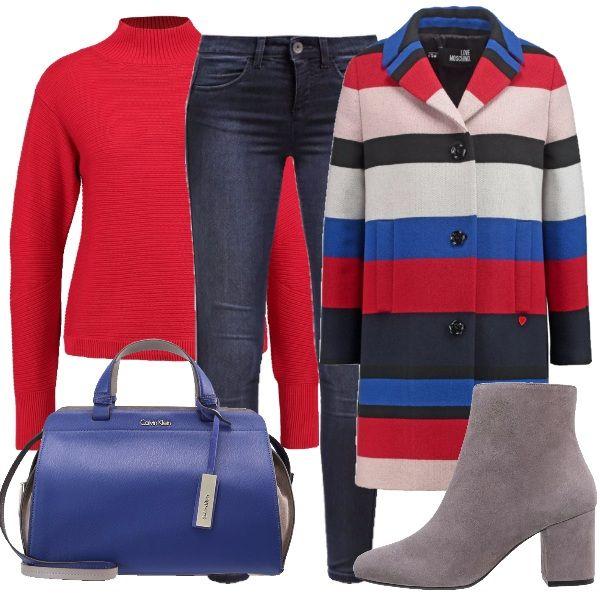 Questo outfit è pensato per le donne che amano il colore. L'outfit è costruito intorno al cappotto a righe abbinato ad un jeans, un maglioncino rosso, degli stivaletti grigi e una borsa blu elettrico.