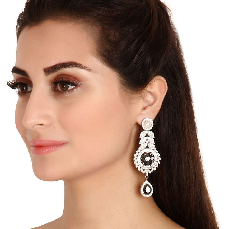 Zircon Earring 35236 #Kushals #Jewellery #Fashion #Indian #Jewellery #Earrings #Designer  #hangings  #modern #unique