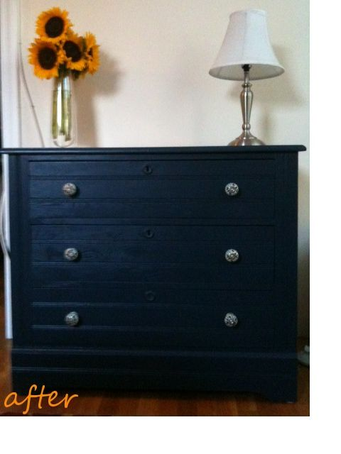 Salvaged/prettied up navy blue dresser.....thinking something like this next to the stairwell....