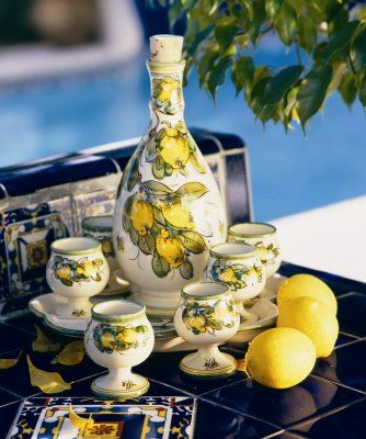 italian carafe and glass set  Toscana Limoncello Masterfully HandPainted Decanter Cups and