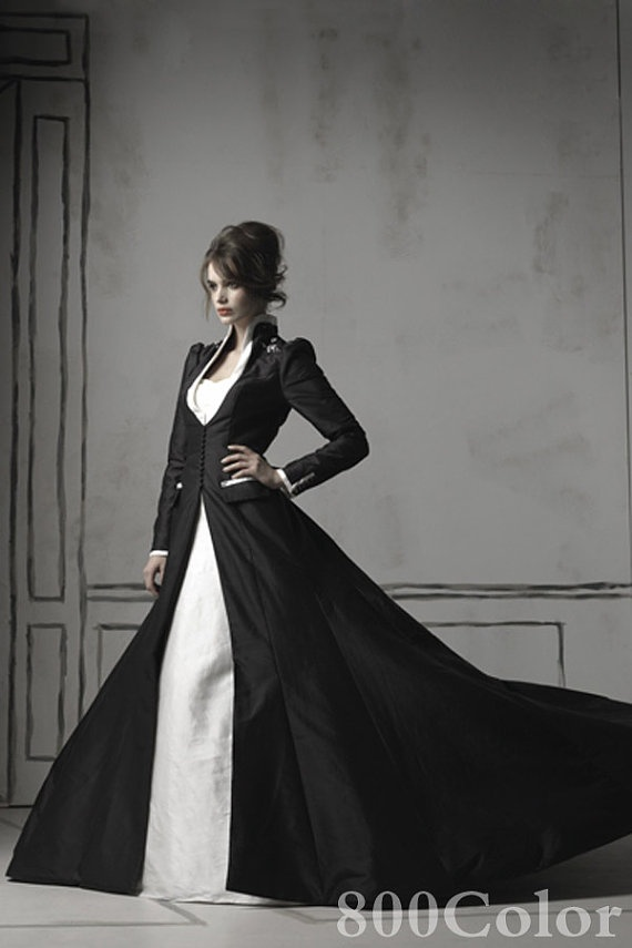 black long wedding taffeta overcoat with by Lemandyweddingdress, 188.00. Gorgeous! Of course, then what kind of dress do you hide under there?