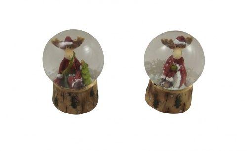 Gisela Graham Christmas Moose Snowglobe Set