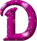 Letra D Mayúscula, color fucsia. Imagen animada.