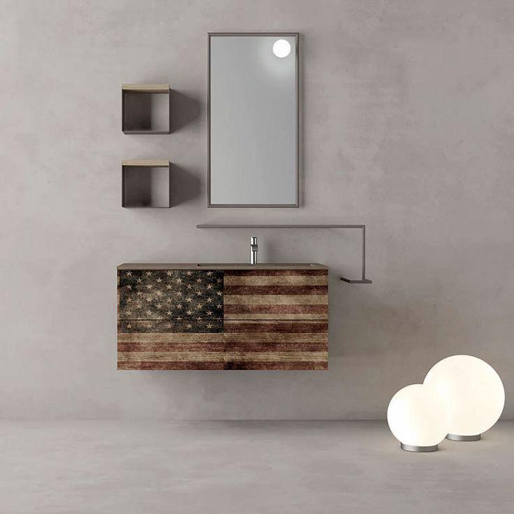 Stile underground, look vintage, ispirato al design Old America - Composizione mobile bagno Vintage Ardeco