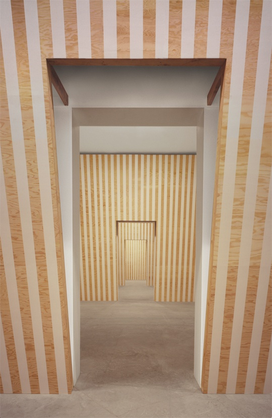 """Daniel Buren """"Leaning Walls Installation"""",1989 Wood and White Tape 3 rooms variable"""