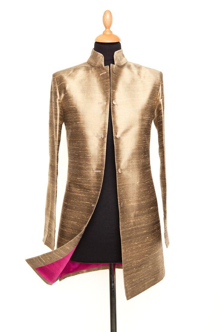 Silk Long Nehru Jacket in Oyster Gold - £265 #silk #jacket #fashion #women #shibumi