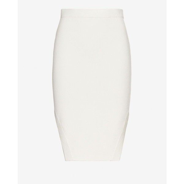 Jonathan Simkhai Cut Out Hem Knit Pencil Skirt (1.235 BRL) ❤ liked on Polyvore featuring skirts, white, elastic waist skirt, white cut out skirt, knit skirt, knee length pencil skirt и white skirt