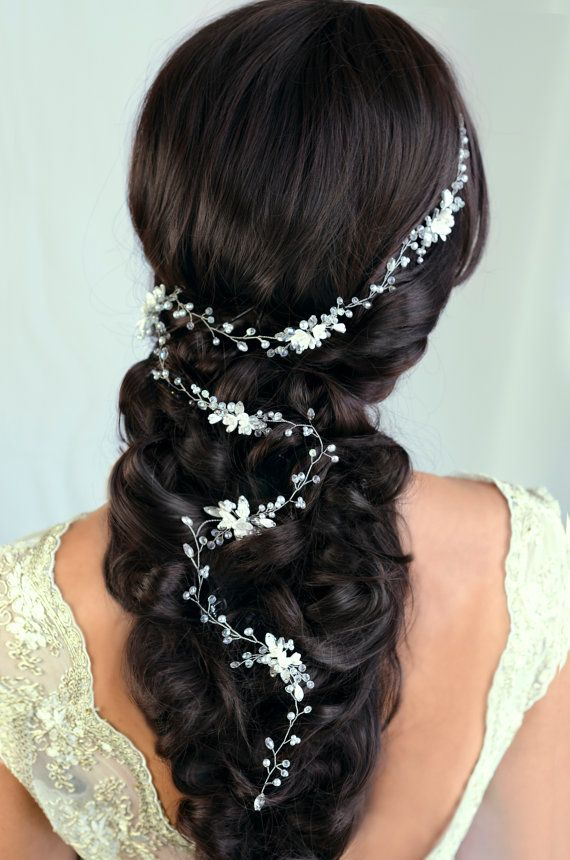 Bridal Hair Vine Wedding hair vine Flower hair vine Long hair vine Gold Pearl hair vine Bohemian bridal headpiece