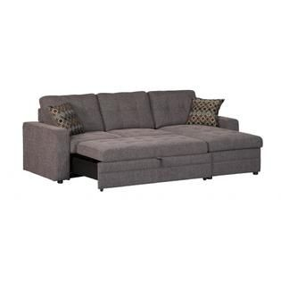 gus charcoal chenille upholstery small sectional storage chaise sofa pullout bed sleeper with track