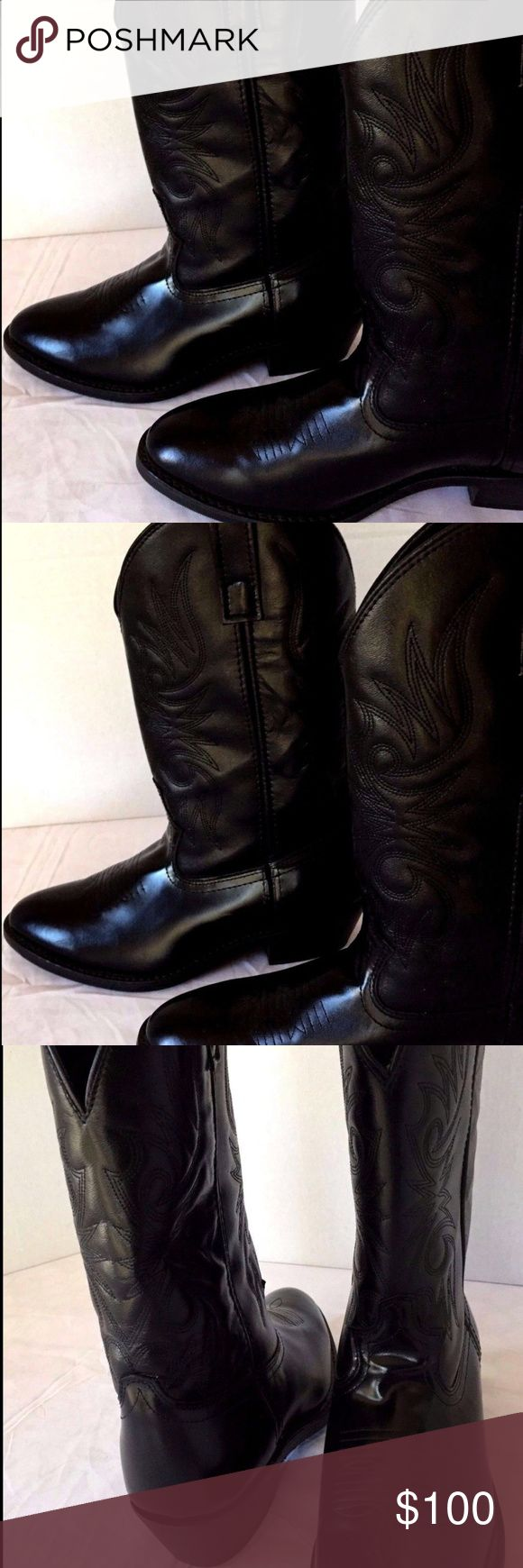 """Laredo Western Cowboy Boots 9D Excellent Condition These Laredo Paris Men's Size 9D Black Leather Cowboy Boots Style #4240 are a Classic Western Boot ~ Durable and long-wearing ~ 12-inch height ~ These boots are Traditional Western Cowboy Boots ~ Round Toe with a Cowboy heel ~  Oil and Chemical Resistant ~ In Excellent Condition as they have only been Worn Two or Three Times Black Leather Foot * Black Leather-Like Top * 12"""" in Height * Hinged Cushion Insole * Round Toe * Cowboy Heel * Heavy…"""