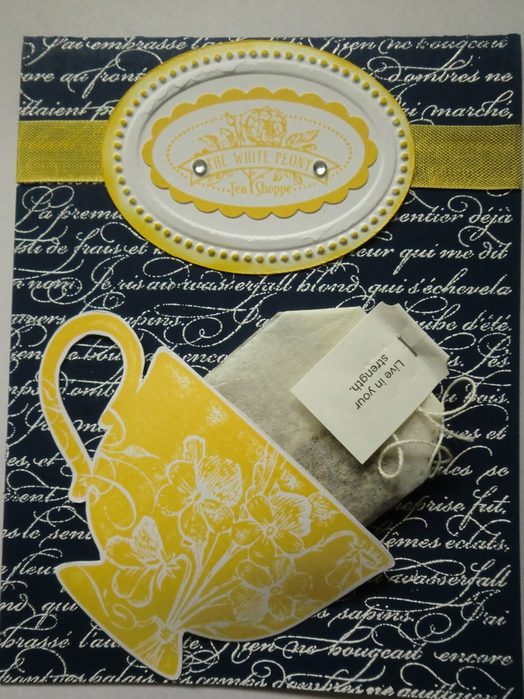 Stampin Up Tea Shoppe w/En Francais in Night of Navy and Daffodil Delight