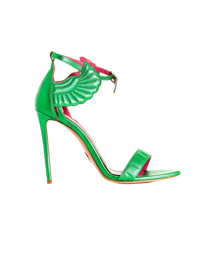 OSCAR TIYE MALIKAH SANDAL SS 2016 Nappa suede sandal  emerald green finishing adjustable strap 11 cm stiletto heel 100% LH  made in Italy