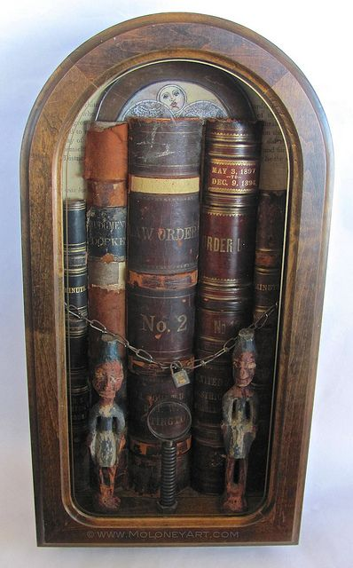 """guarded"" assemblage, mixed media, found objects, national archives, law, clock case, books, art, art box"