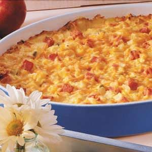 Ham N Cheese Potato Bake Recipe. This is so easy and quick to put together. I used the O'Brien potatoes that have the onion and peppers added so I omitted the onion. I also added additional cheese! This is a delicious meal served with a salad. Just an FYI this does have canned condensed soup in recipe (I used 2 cans of cream of chicken.) Will make again!
