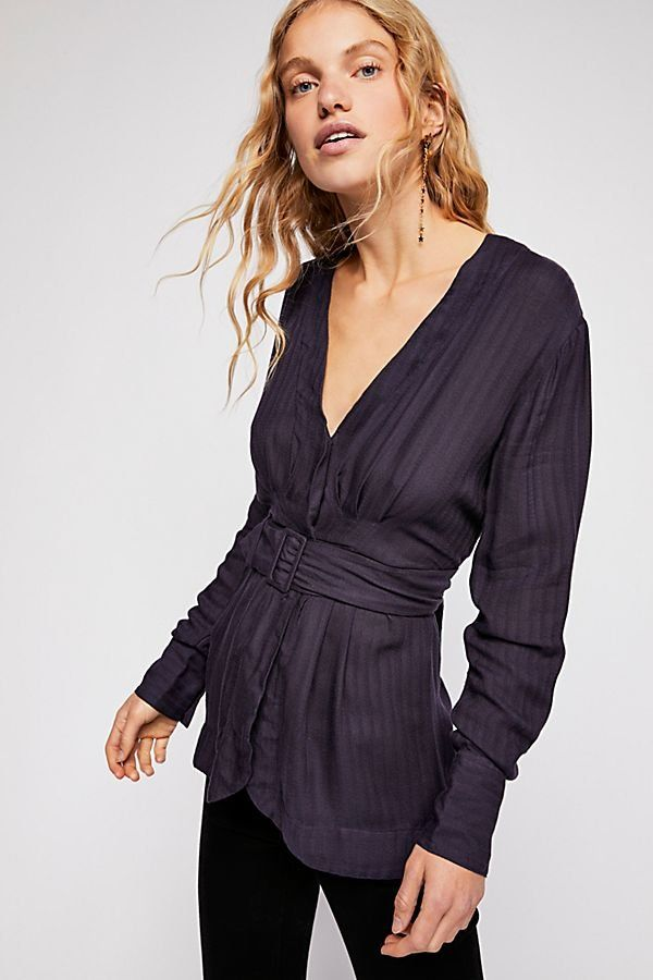 3490de034e7 Back In The Spotlight Top - Navy Linen Long Sleeve V-Neck Top with Waist  Buckle