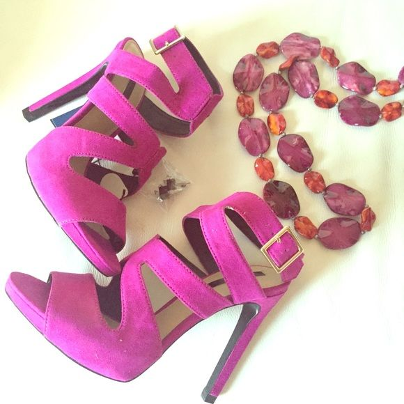 """Zara purple strappy heels New with box and tags , 4.5"""" heel , necklace also for sale on separate listing Zara Shoes Heels"""