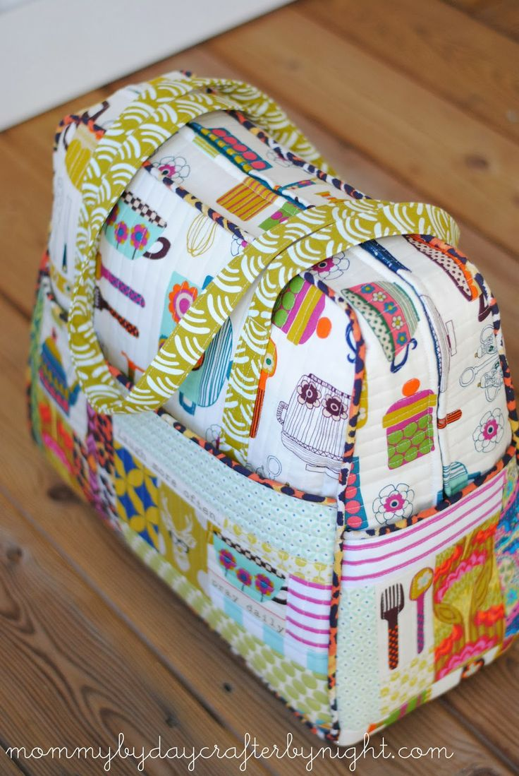 Mommy by day Crafter by night - quilted weekender bag with modifications to original pattern by Amy Butler