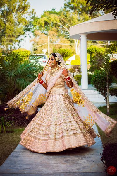 soft pink, pastel, blush pink heavy ornate royal bridal lehenga, day wedding, sikh bride, shell, lovely, elegant, morning, spring, summer, raw silk, all over embroidered , dull copper work, zardozi