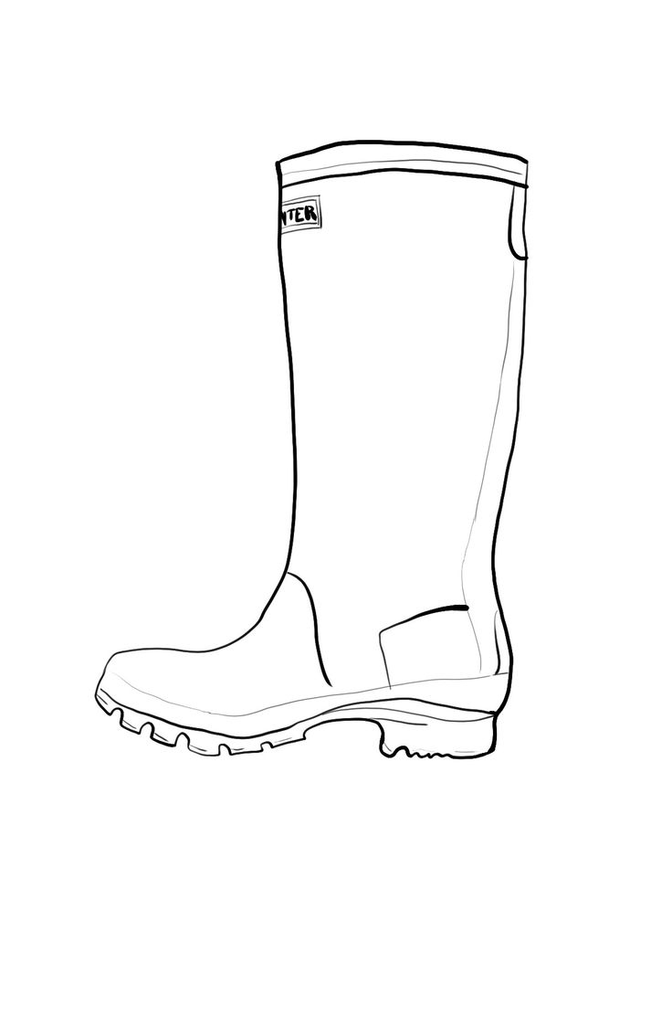 Sketch of rain boot coloring pages for Rain boots coloring page