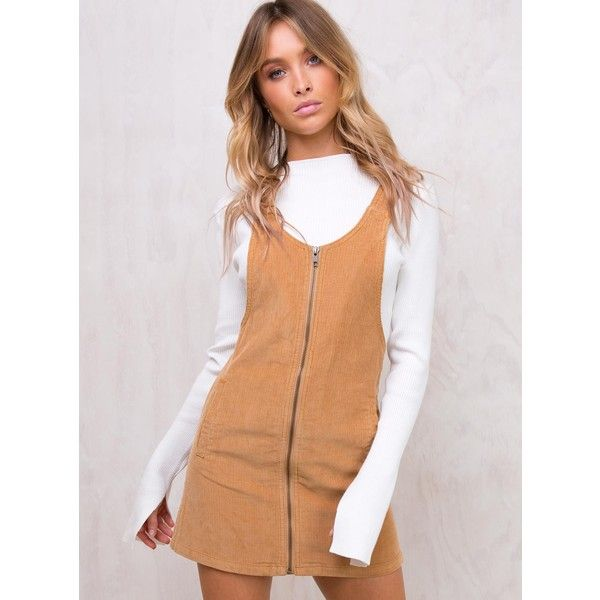 Afends Almond Pinafore Dress Light Tan (€86) ❤ liked on Polyvore featuring dresses, pinafore dresses, mini maxi dress, maxi length dresses, pinny dress and tan maxi dress