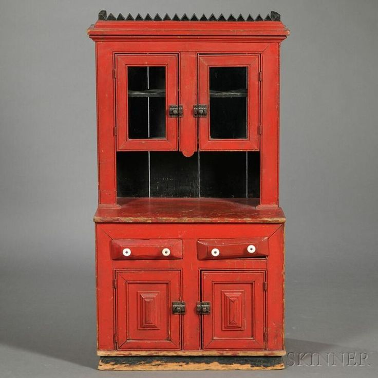Miniature Red-painted Step-back Cupboard - Price Estimate: $800 - $1200