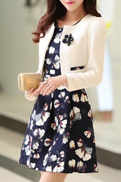 Модные Длинные рукава Scoop шеи куртка без рукавов и Цветочные платья для женщин…