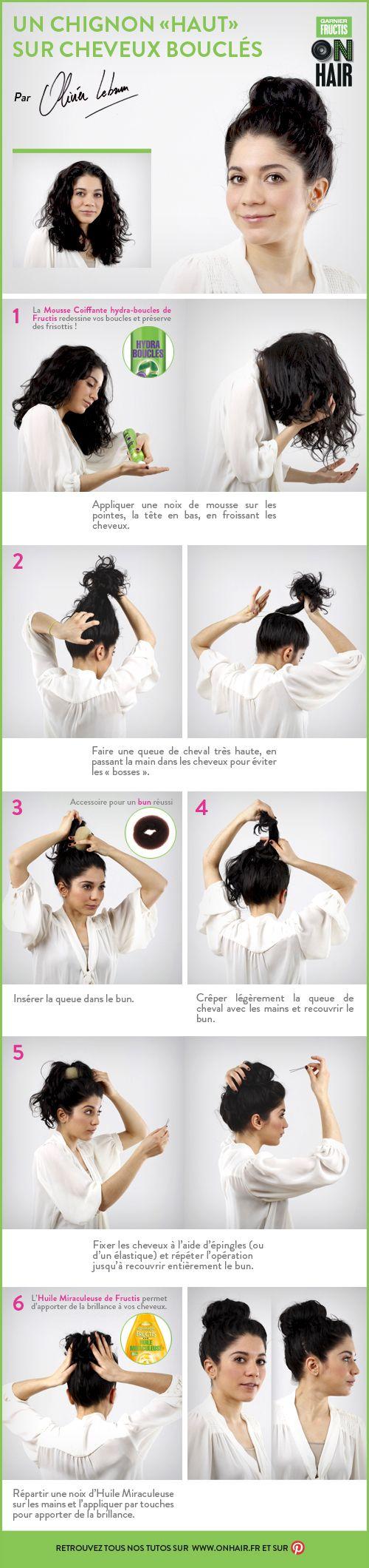 Chignon «haut» sur cheveux bouclés