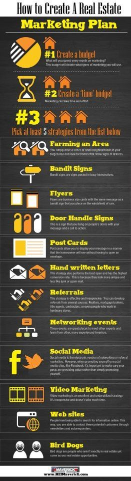 Here are some helpful tips on how to create a real estate marketing plan. http://www.reimaverick.com/ #infographics